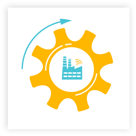 Factory and gear icon industry 4.0 concept vector illustration. Manufacturing revolution technology graphic with orange cogwheel, blue factory and wireless icon. Smart industry and automation concept Illustration