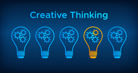 Cogwheel lightbulb creative thinking concept vector illustration. Creative people graphic idea with gear and light bulb. Blue lamp silhouette with orange lamp technology background concept. Illustration