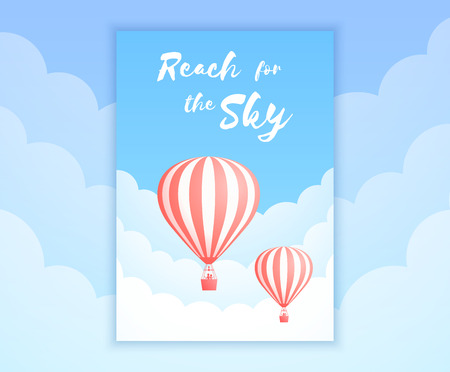Hot air balloon sky adventure vector illustration. White clouds on summer blue sky with big motivational quote and red stripe hot air balloons for adventure holiday promo banner. Clipping mask applied