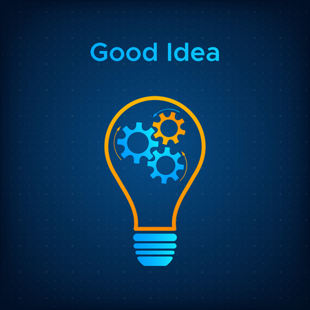 Gear lightbulb creative teamwork concept vector illustration. Orange bulb silhouette with blue cogwheel inside innovation ideas graphic. Line lamp with gear technology background business concept