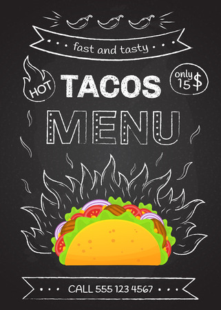 Mexican cuisine fastfood tacos menu vector illustration. Retro flame chalk hand draw design with tasty beef meat, salad and tomato in delicious taco with sign Hot Tacos Menu for cafe design or party