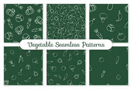 Decorative seamless chalk silhouette vegetable pattern. Trendy decoration food design background in modern colors with chalk contour vegetables. Seamless vector illustration for wrapping paper pattern