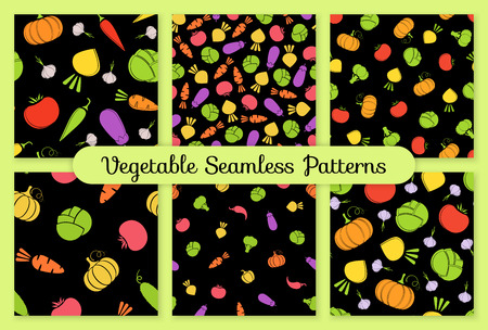 Outline seamless vegetable background set vector flat illustration. Seamless texture black background design with tomato, eggplant, cabbage and carrot, turnip vegetable silhouette in natural colors