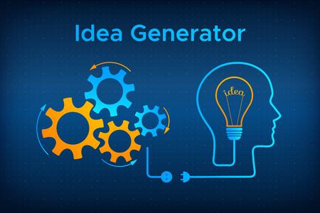 Head silhouette lightbulb creative idea concept vector illustration. Idea generator graphic with head profile, gear mechanismht bulb. Blue human silhouette with technology background idea concept. Illustration