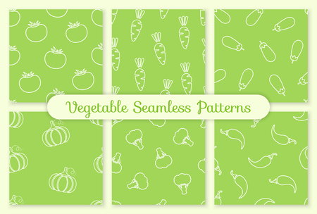 Silhouette seamless vegetable pattern set vector flat illustration. Fresh food pattern in white and green colors with outline vegetable seamless element for fabric print or wallpaper