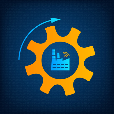 Factory and gear icon industry 4.0 concept vector illustration. Manufacturing revolution technology graphic with orange cogwheel, blue factory and wireless icon. Smart industry technology background