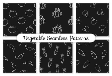 Autumn chalk contour vegetable seamless pattern. Background design with chalk silhouette eggplant vegetables on black chalkboard. Seamless vector illustration for season celebration card pattern.