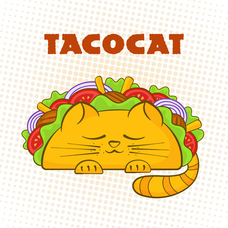Taco cat sleeping character mexican fast food tacos symbol vector illustration. Cute cat mascot with tasty beef meat, salad and tomato in delicious taco with sign Tacocat for cafe design or promo