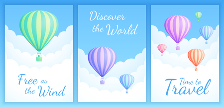 Hot air balloon cloud scape vector illustration. Set of travel banner with colorful striped hot air balloons, white clouds and summer blue sky for birthday invitation or promo. Clipping mask applied.