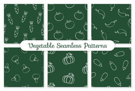 Decorative seamless chalk contour chilli vegetable pattern. Retro background with chalk silhouette chili pepper vegetables on green chalkboard. Seamless vector illustration for vegetarian menu pattern