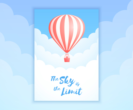 Hot air balloon sky flight vector illustration. Carnival poster or birthday invitation template, white cloud on summer blue sky with hot air balloon and sign Sky is the Limit. Clipping mask applied. Illustration