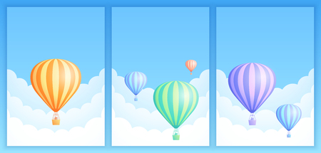Hot air balloon sky flight vector illustration set. Collection of carnival poster or birthday invitation, white cloud on summer blue sky with colorful stripes hot air balloons. Clipping mask applied.