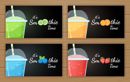 Set of fruit smoothie cocktail logo vector illustration. Fresh smoothies drink with colorful layers in glass, raw fruit smoothie logo for fast food menu design or detox banner. Clipping mask applied. Illusztráció