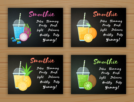Set of smoothie banner vitamin drink vector illustration. Fresh vegetarian smoothies drink with colorful layers in glass raw fruit and sign Smoothie for fitness landing page or restaurant food banner