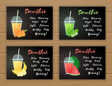 Set of smoothie fruit cocktail flat vector illustration. Tasty natural fruit, glass with colorful layers of smoothies cocktail and Smoothie sign for drink promo landing page or summer fast food menu