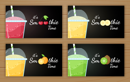 Natural smoothie fruit shake vector logo illustration. Set of tasty fruit, glass with colorful layers of smoothies cocktail and smoothie logo for fitness landing page concept. Clipping mask applied.