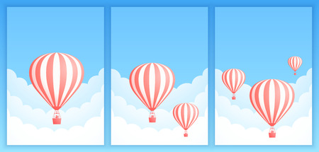 Hot air balloon cloud scape vector illustration. Collection of carnival design or romantic adventure offer with red striped hot air balloons in white cloud on summer blue sky. Clipping mask applied.