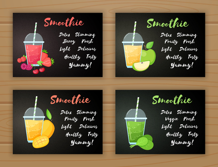 Set of smoothie banner vitamin drink vector illustration. Tasty natural fruit, glass with colorful layers of smoothies cocktail, smoothie sign for fast food menu design or healthy detox web banner