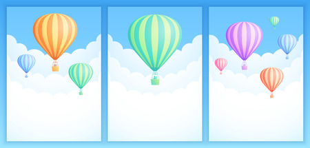 Hot air balloon sky adventure vector illustration set. White clouds on summer blue sky with colorful stripes hot air balloons for adventure banner or invitation postcard design. Clipping mask applied. Illustration