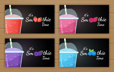 Berry smoothie logo vitamin drink vector illustration. Set of smoothie logo, glass, filled with sweet tasty colorful smoothies drink cocktail for drink energy promo landing page. Clipping mask applied