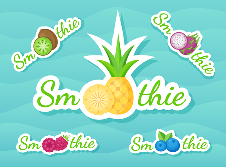 Green sticker smoothie fruit shake logo set vector illustration. Sign Smoothie on blue background on colorful smoothies drink cocktail sticker for store promotion art or shop decoration design, Illusztráció