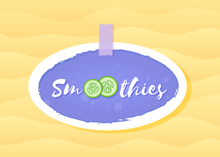 Smoothie vegetable cocktail sticker logo vector illustration. Fresh smoothies drink label with cucumber slice and sign Smoothie with hand drawn white frame for promo sticker or shop decoration design Illustration