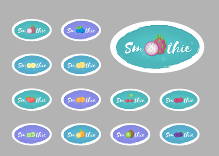 Smoothie label fruit logo set vector illustration. Natural fruit with Smoothie sign at isolated smoothies cocktail round sticker for decoration emblem, sale offer label or advertising graphic poster
