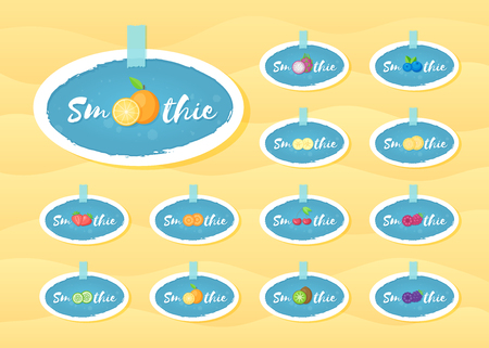 Blue sticker set smoothie fruit shake vector illustration. Hand drawn sign Smoothie on blue background in white frame on smoothies drink cocktail sticker for offer drawing sign or store promotion art Illustration