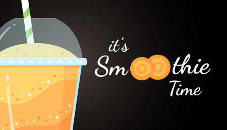 Orange smoothie logo carrot shake vector illustration. Smoothie logo on black background, glass filled with fresh green smoothies cocktail for healthy detox web banner Clipping mask applied.