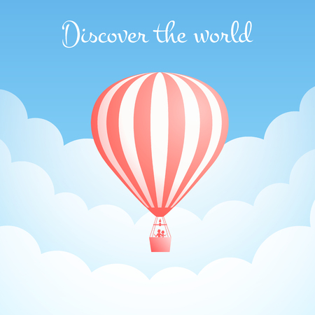 Hot air balloon cloud travel vector illustration. Carnival entertainment social media banner or romantic adventure offer with red hot air balloons in white cloud on blue sky. Clipping mask applied.