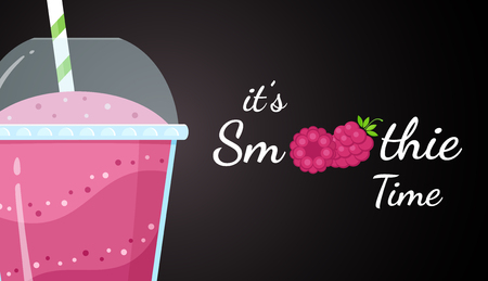 Red raspberry smoothie vitamin drink vector illustration. Berry smoothie logo on black background, glass filled with red smoothies drink for summer fast food season menu. Clipping mask applied.