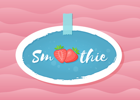 Red smoothie strawberry cocktail sticker vector illustration. Tasty fruit with hand drawn Smoothie sign in white frame. Fresh smoothies cocktail blue round sticker for decoration shop label design Illustration