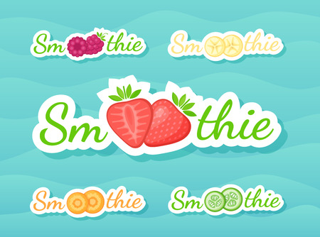 Green sticker fruit smoothie shake logo set vector illustration. Fresh vegetarian smoothies drink label with raw fruit and tag Smoothie for decoration shop sticker, promo discount or sale offer banner