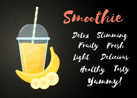 Yellow banana smoothie vitamin drink vector illustration. Tasty natural fruit, straw and glass with yellow layers of smoothies cocktail. Horizontal poster, sign Smoothie for healthy detox web banner