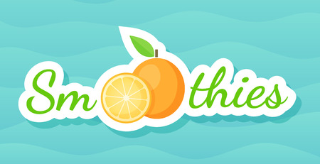 Orange sticker fruit smoothie shake logo vector illustration. Fresh vegetarian smoothies drink label with raw fruit and tag Smoothie for decoration shop sticker, promo discount or sale offer banner