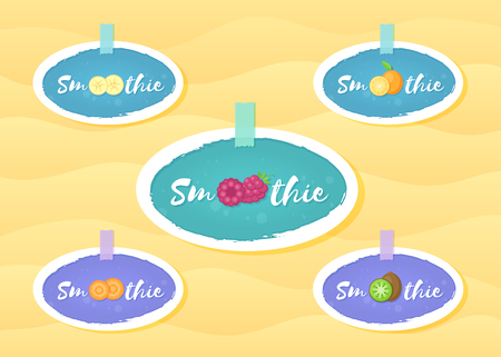 Fresh smoothie fruit cocktail label vector illustration. Vegetarian smoothies drink sticker logo set with hand drawn white frame and tag Smoothie for store promotion label or shop decoration design Illustration