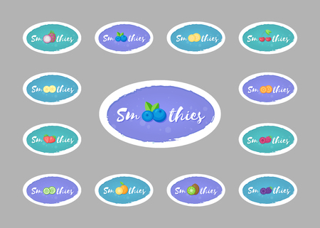Collection of smoothie drink sticker vector illustration. Hand drawn sign Smoothies on color background with fruit on isolated smoothie cocktail sticker for decoration shop sticker or promo discount