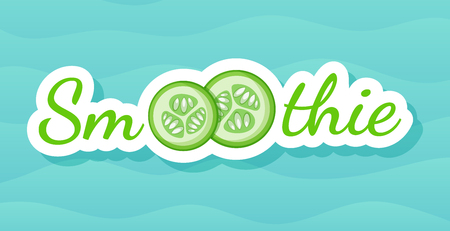 Green sticker vegetable smoothie shake logo set vector illustration. Vegetarian smoothies drink label with raw fruit and tag Smoothie for decoration shop sticker, promo discount or sale offer banner
