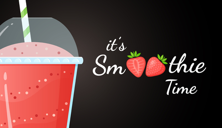 Red smoothie logo fruit shake vector illustration. Fresh smoothies drink with strawberries smoothie logo for drink energy promo landing page or summer fast food season menu. Clipping mask applied.