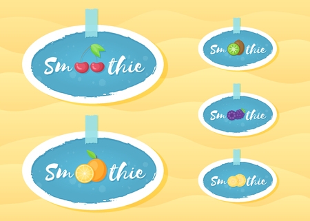 Fruit smoothie drink label logo set vector illustration. Round vegetarian smoothies drink label with raw fruits and hand drawn tag Smoothie with white frame for decoration emblem design Illustration