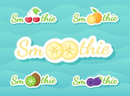 Berry and fruit smoothie drink sticker set vector illustration. Natural fruit with Smoothie sign in white frame at Fresh smoothies cocktail sticker for offer drawing sign or store promotion art