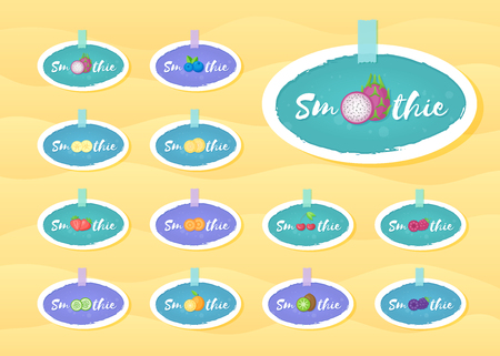 Smoothie fruit cocktail sticker set vector illustration. Fresh vegetarian smoothies drink label with hand drawn sign Smoothie with white frame for offer drawing sticker or store promotion art
