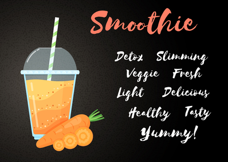 Orange natural smoothie carrot shake vector illustration. Natural vegetable, glass with orange layers of smoothies cocktail. Horizontal poster with big sign Smoothie for fitness landing page concept