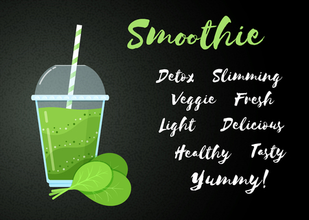 Green vegetable smoothie vitamin drink vector illustration. Big sign Smoothie on black background, glass, spinach leaves, filled with healthy green smoothies cocktail for drink energy landing page
