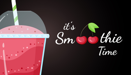 Red cherry smoothie vitamin drink vector illustration. Tasty natural berry, glass and cup with colorful layers of smoothies cocktail, smoothie logo for fast food menu design. Clipping mask applied.