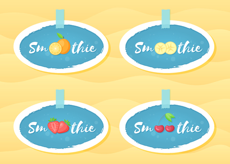 Blue label set smoothie fruit shake vector illustration. Hand drawn sign Smoothie on blue background in white frame on smoothies drink cocktail label for offer drawing sign or store promotion art