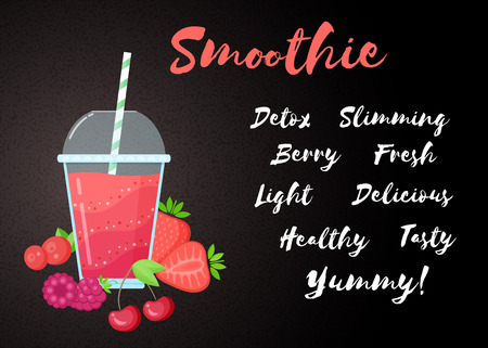 Red berries smoothie vitamin drink vector illustration. Fresh smoothies drink with red layers in glass with cup and straw. Raw pineapple fruit and sign Smoothie for fitness landing page concept