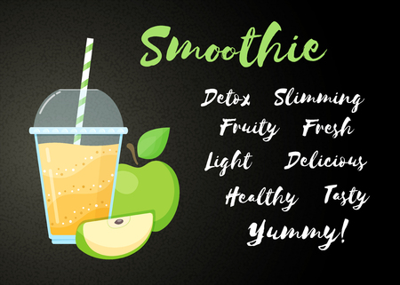 Yellow natural smoothie apple shake vector illustration. Big sign Smoothie, glass with cup and straw, filled with sweet tasty smoothies drink cocktail for fast food menu design or healthy detox banner Иллюстрация