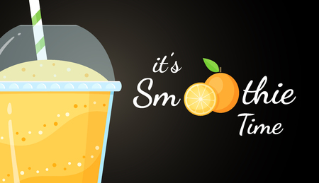 Orange smoothie logo, fruit cocktail flat vector illustration. Smoothie logo on black background, glass filled with orange smoothies cocktail for fitness landing page concept. Clipping mask applied.