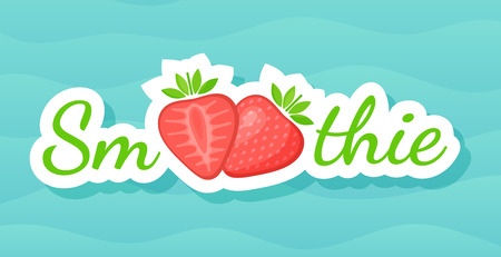 Red smoothie strawberry cocktail sticker logo vector illustration. Sign Smoothie on blue background in on colorful smoothies drink cocktail sticker for decoration emblem or advertising graphic poster